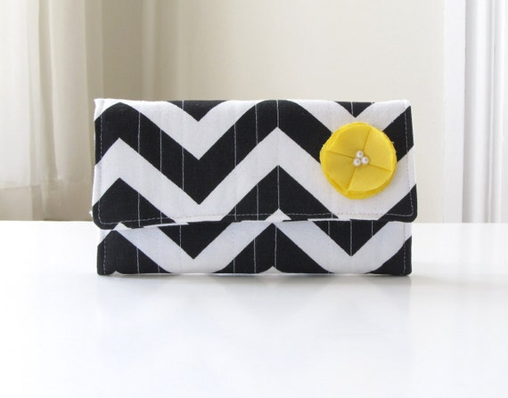 Chevron Trifold Wallet, Black, White, and Yellow Handmade Clutch Wallet, Winter Fashion - READY TO SHIP