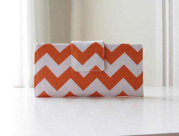 RESERVED for Abby - Women's Chevron Fabric Wallet in Orange and White