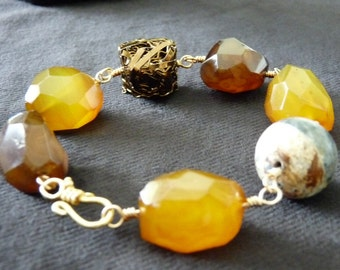 Agate and yellow turquoise bracelet