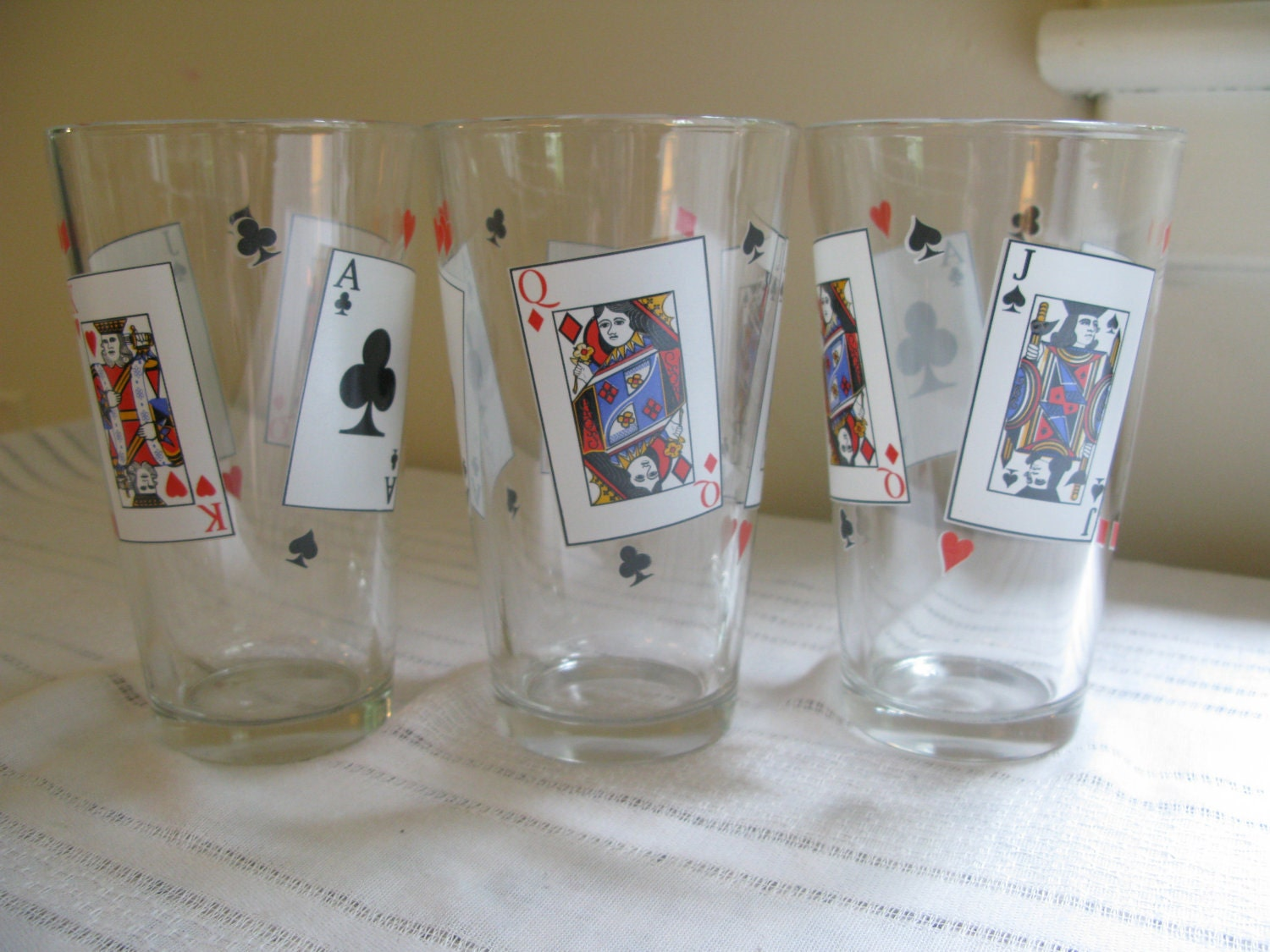 Vintage Playing Card Drinking Glasses By Dandelionandmrtoad