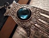 Hand of Fatima Necklace - Silver Hamsa Deep Blue Colour Cabochon