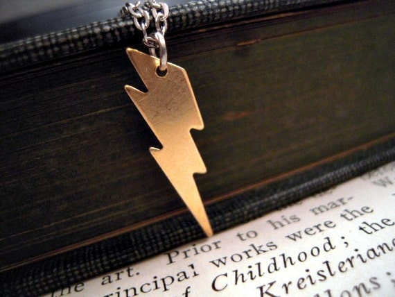 Lightning Bolt Necklace - Little Brass Lightning Bolt on Silver Chain - Nature Stormy Weather