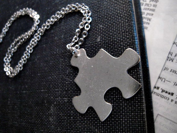 Last Piece Of The Puzzle Necklace  / Silver Puzzle Piece on Chain