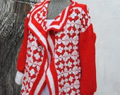 Vintage 1970's Hand Made Crochet Sweater Jacket