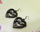 SALE - Arrow Of Love - Vintage Inspired Heart Arrow Of Love Plastic Heart Brass Finish Hook Earrings - Free Gift Promotion