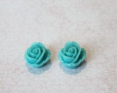 Last One Left - DIY 2  Pieces Blue Turquoise Rose - Huge Flower Blossom Color Charm Cameo Cabochon Supply Supplies