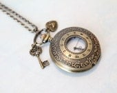 Will Always Love You - Handmade Retro Round Watch Huge Victorian Skeleton Key Mini Little Heart Love Charm Brass Pendant Necklace