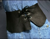Custom Made Black Leather Corset Hip Belt Renaissance Raw Edge Belt