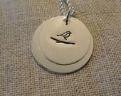 Bird on a Branch SECRET MESSAGE -- Handstamped necklace
