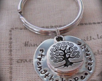 Strength hope courage -- Handstamped & Personalized Key Chain