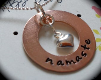 Namaste -- for yoga enthusiasts --  Handstamped Necklace - Sterling Silver/Copper