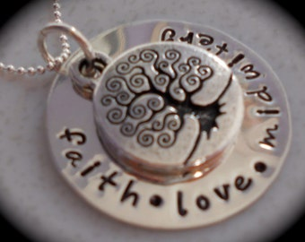 faith love midwifery - Tree of life  -- handstamped sterling silver necklace
