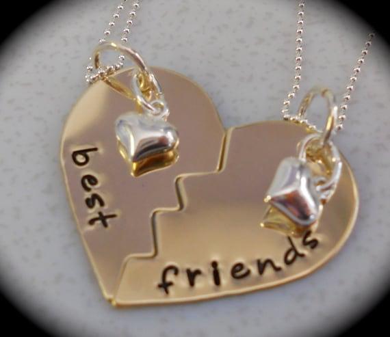 Items similar to migliori amiche set di due collane for Disegni di due migliori amiche