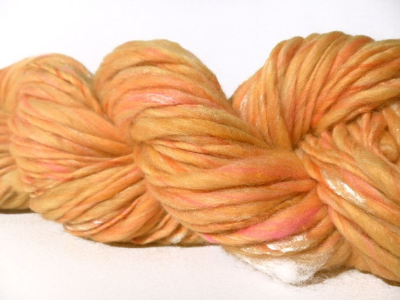 Reserved for Vanessa CLEARANCE - Handspun Merino Bamboo  Single Thick and Thin ArtYarn - 80 yards