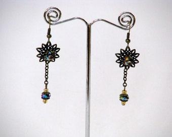 SALE - Vintage Waterlily Earrings - bronze, floral, teal, vintage, waterlily, earrings, hanmade