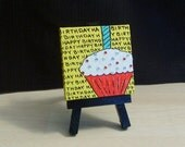 Cupcake Canvas Mini Painting with Easel featuring - Red Velvet Birthday Cupcake