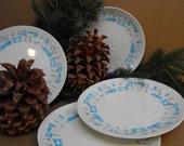 Four Vintage Atomic Design Retro Blue Heaven Dinner Plates