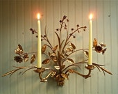 Gorgeous Italian Gilt Tole Candle Sconce