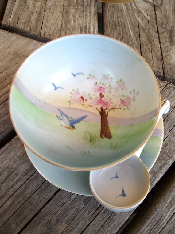 Handpainted Nippon Sauce Bowl Plate and Ladle