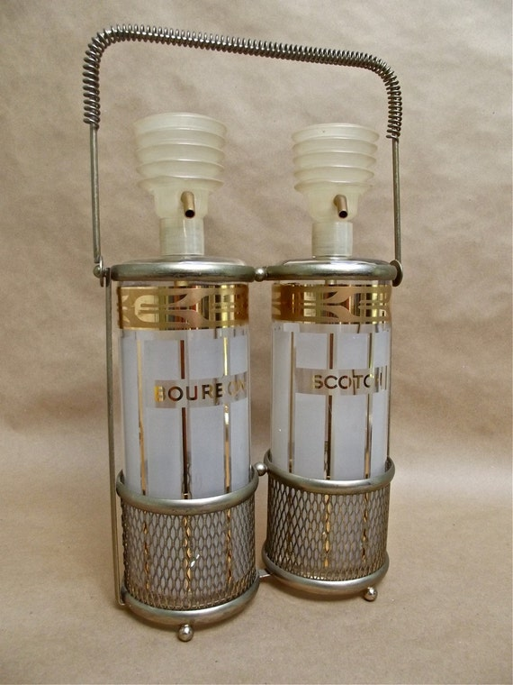 Fred Press Mid Century Scotch and Bourbon Pump Decanters and Caddy
