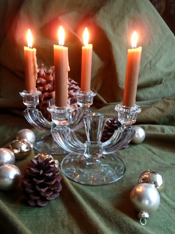 Pair of Stunning Deco Crystal Double Candleholders