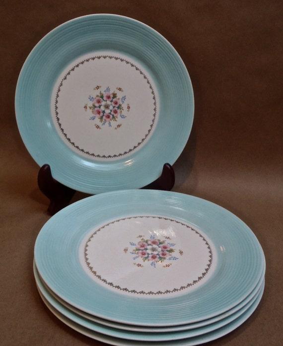 Five American Limoges Triumph Empress Cotillion Blue Plates