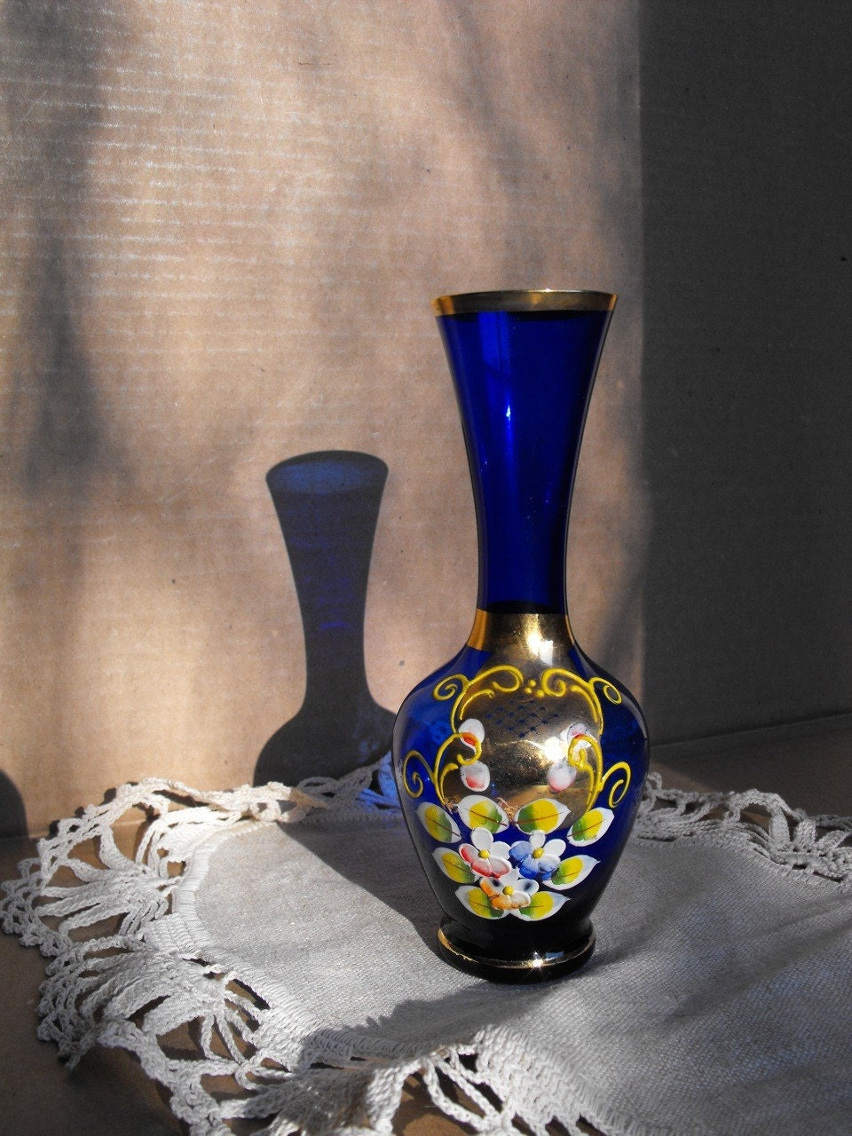 Cobalt Blue Glass Vase With Gold And Handpainted By Ybinucarol