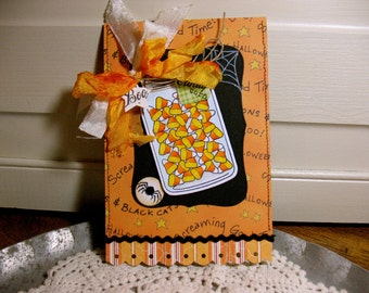Handmade Shabby Chic Greeting Card Halloween Mason Jar with Candy Corn