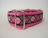 Martingale Collar, Hot Pink, Daisy, Jacquard, Dog Collar, Pink Daisy, Greyhound Collar, Custom Dog Collar
