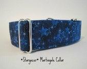2 inch Martingale Collar, Blue, Stars, Celestial, Greyhound Collar, Dog Collar, Wide Dog Collar, Large Dog