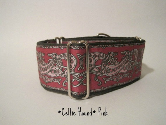2 inch Pink Martingale Collar, Celtic Greyhounds, Greyhound Collar, Dog Collar, Pink and Black, Custom, Wide
