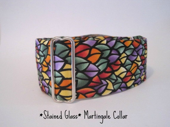 2 inch Martingale Collar, Stained Glass, Greyhound Collar, Red, Blue, Purple, Black, Dog Collar, Wide Dog Collar
