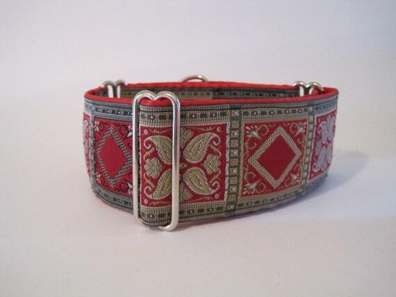 2 inch Martingale Collar, Red, Jacquard, Christmas, Dog Collar, Custom Dog Collars, Greyhound Collar, Greyhound Martingale