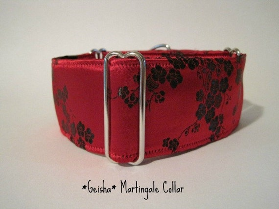 Red Martingale Collar, Red Silk Dog Collar, Silk Brocade, Christmas, Sighthound Collar, Greyhound Collar