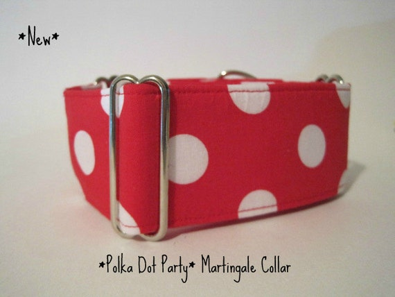 Martingale Collar, Red and White, Polka Dot, Dog Collar, Custom Dog Collars, Greyhound Collars