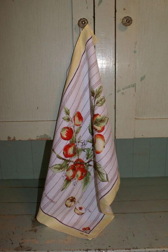 Vintage Linen Dish Towel Fruit Apples