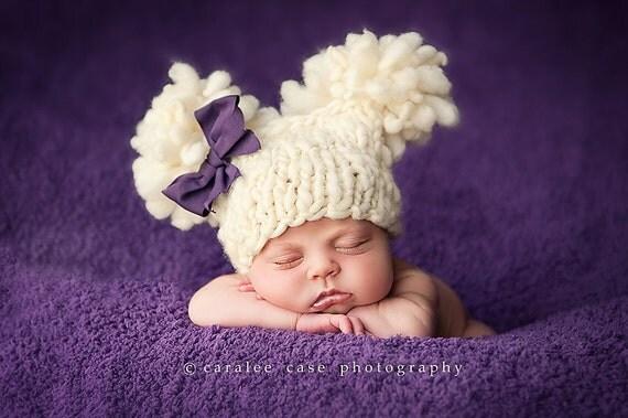 Newborn Double Fluff  Baby Hats Hand Knit from Handspun Merino  Ready to Ship