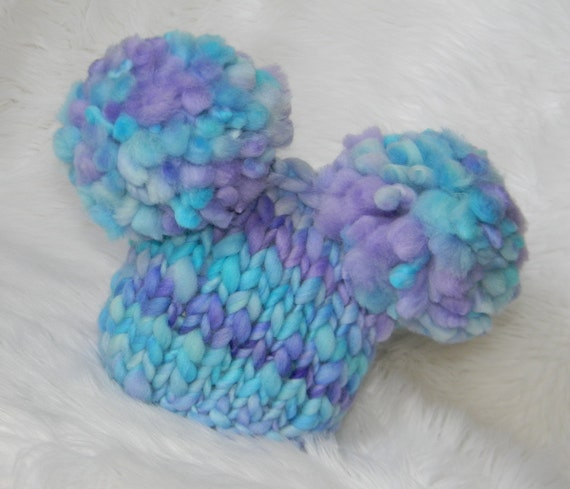 Softest Turquoise and Purple Newborn Double Fluff  Baby Hats Hand Knit from Handspun Merino  Ready to Ship