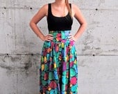 SUMMER SALE Vintage Maxi Colorful High Waist Skirt