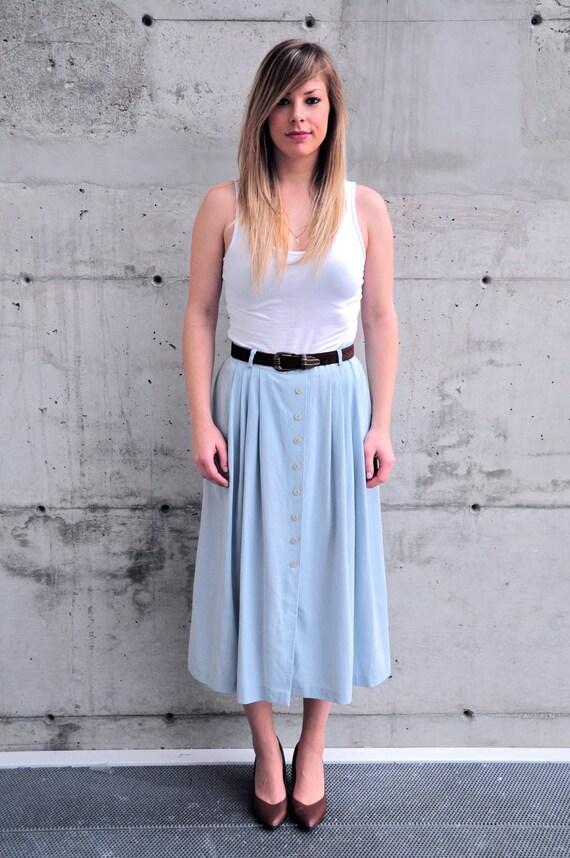Vintage High Waisted Pleated Maxi Skirt