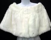SALE Luxury faux fur bridal cape with hook closure, capelet shrug wrap