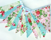 Floral bunting - English country garden, pretty, retro, double sided bunting