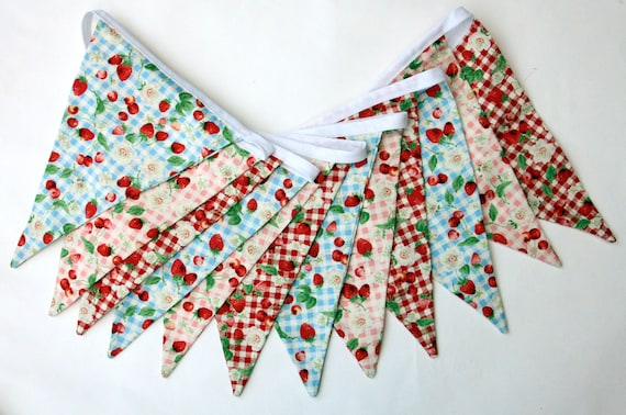 summer fruits bunting - Strawberries and cream, English summer, floral, retro, double sided bunting