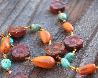 Turquoise Necklace with Carved Jasper Flowers