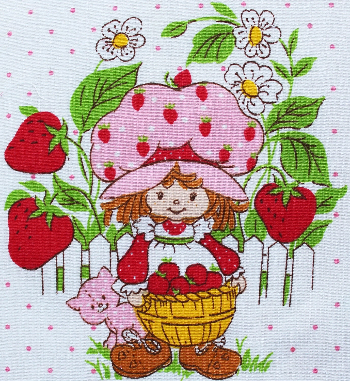 Vintage Strawberry Shortcake Hexagon Fabric Piece by papagostudio
