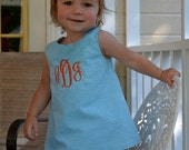 Turquoise Gingham Open Back Top and Ruffle Bottom Bloomers with Orange Monogram and Ric Rac