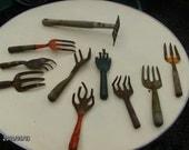 Lot of 10 antique garden tools