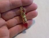 Vintage Ruby Red Crystal Pendant