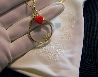 Vintage Gold Monocle Lens with Red Heart Charm