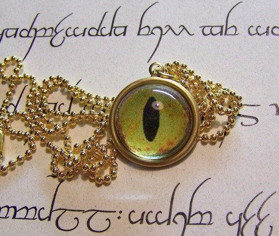 Green Alligator  Eye Pendant